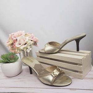 Michael Kors Gold Silver Kitten Heel Sandals